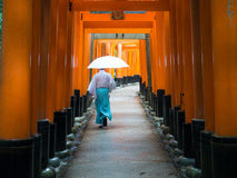Red Torri Gates of Fushimi Inari Taisha with Priest. A Shinto Priest talks through the famous red gates of Fushimi Inari Taisha shrine in Tokyo, Japan Stock Image
