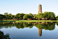 Refect photo on water. Wat praram temple flood in  Ayutthaya was the old capital of Thailand Stock Photography