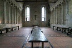 Refectorio de la iglesia-abadía de Mont-Santo-Miguel Imágenes de archivo libres de regalías