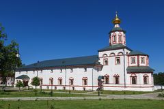 Refectory with the Church of the Epiphany in Valday Iversky Svyatoozerskaya monastery, Novgorod Region Stock Image