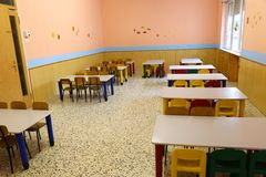 Refectory of the school canteen before lunch break Stock Photos