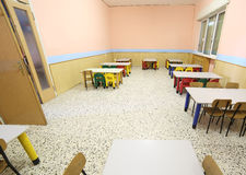 Refectory of a school for children with small chairs and tables Stock Images