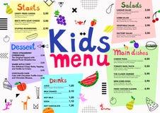 A refeição colorida bonito caçoa o molde do menu com monstro bonitos, frutos, elementos geométricos Imagem de Stock