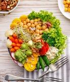 Refeição da bacia da Buda, a saudável e a equilibrada do vegetariano, salada fresca com uma variedade de vegetais, conceito saudá Imagens de Stock Royalty Free