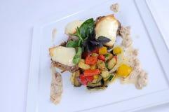 Refeição de jantar fina - medeallions da carne de porco com panquecas Imagens de Stock Royalty Free