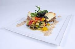 Refeição de jantar fina - medeallions da carne de porco com panquecas Imagem de Stock Royalty Free