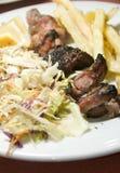 Refeição do kabob do fígado da carne de porco de Tunes Tunísia fotografia de stock