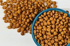 Refeição dos animais de estimação em uma bacia e no assoalho Imagem de Stock Royalty Free