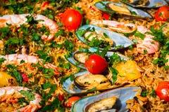 Refeição dos mexilhões, dos camarões e do arroz Foto de Stock Royalty Free