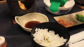 Refeição e furikake do arroz vídeos de arquivo