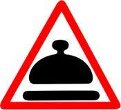 Refeição especial que adverte o sinal de estrada vermelho triangular isolado no fundo branco Imagens de Stock Royalty Free