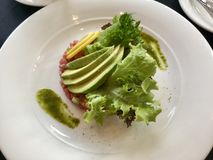Refeição gourmet - tártaro do atum e fatias de abacate com molho asiático verde Fotos de Stock