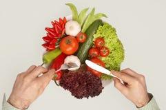 Refeição saudável com trajeto de grampeamento - Mahlzeit foto de stock