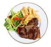 Refeição Seared do bife de T-bone de acima foto de stock royalty free