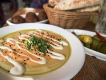 Refeição tradicional de Hummus Fotografia de Stock Royalty Free