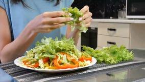 Refeição verde do café da manhã do vegetariano na bacia com pimenta da couve, a amarela e a vermelha de sino Comer limpo, fazendo filme
