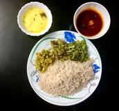 Refeições do caril dos peixes de Kerala foto de stock