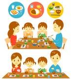 Refeições do japonês da família ilustração royalty free