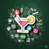 Refeições e colagem das bebidas com ícones no quadro-negro ilustração do vetor
