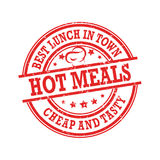 Refeições quentes, o melhor almoço na cidade, barato e saboroso ilustração stock