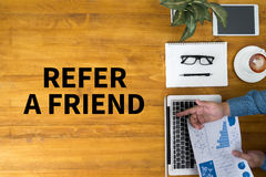 REFER A FRIEND Stock Photos