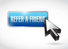 Refer a friend button sign concept Stock Image