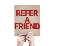 Refer a Friend card isolated on white background royalty free stock photos