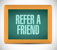 Refer a friend chalkboard sign concept Stock Photos