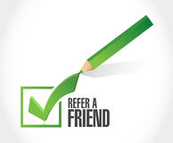Refer a friend checkmark sign concept Royalty Free Stock Image