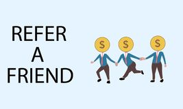 Refer a friend. dollar head people join hands stock illustration