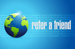 Refer a friend globe binary sign concept Royalty Free Stock Photography