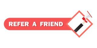 Refer a friend  illustration concept, man shout on megaphone, can use for landing page, Digital business advertising. Social vector illustration