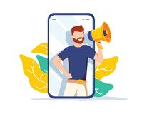 Refer a friend illustration concept, man shout on megaphone, can use for landing page, template, ui, web. Refer a friend illustration concept, man shout on vector illustration