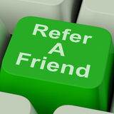 Refer A Friend Key Shows Suggest To Person Stock Photos