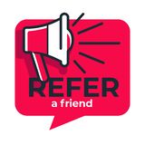Refer friend loudspeaker isolated icon share media information. Share media information refer friend loudspeaker isolated icon program or app network and media stock illustration