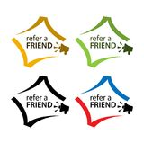 Refer a friend with megaphone icon. Flat vector illustration on white background. Refer a friend. Flat vector illustration on white background. EPS file Royalty Free Stock Image