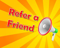 Refer a Friend. Megaphone  Refer a Friend, illustration 3d rendering Stock Images