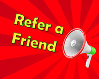 Refer a Friend. Megaphone  Refer a Friend, illustration 3d rendering Royalty Free Stock Photo