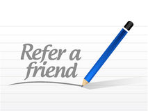 Refer a friend message sign concept Royalty Free Stock Photography