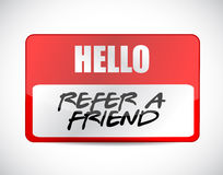 refer a friend name tag sign concept Stock Photography