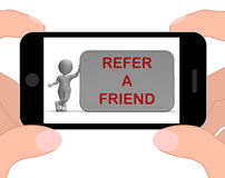 Refer A Friend Phone Shows Suggesting Website Stock Photo