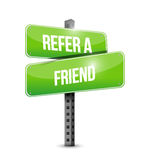 Refer a friend road sign concept Stock Photo