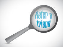 Refer a friend search magnify sign concept Stock Images