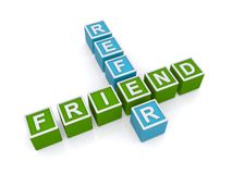 Refer friend sign. Colorful letter blocks in crossword puzzle shape spelling refer friend, isolated on white background stock illustration