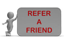 Refer A Friend Sign Shows Suggesting Website Stock Photo