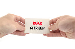 Refer a friend text concept. Isolated over white background Stock Photo