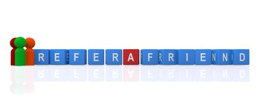 Refer a friend. Text 'refer a friend' inscribed in white uppercase letters on small cubes with 3 colored pegs, one green and two brown, white background vector illustration