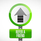 Refer a friend up road sign concept Stock Photos