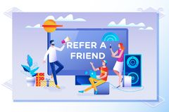 Refer a friend concept. Friend Sharing Referral Code. Vector illustration with character, landing page. Refer a friend vector illustration concept. Friend stock illustration