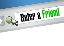 Refer a friend web site sign concept Stock Photos
